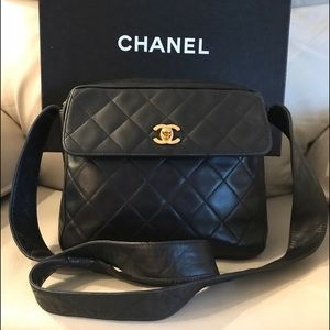 CHANEL Quilted Black Lambskin Leather Shoulder Bag